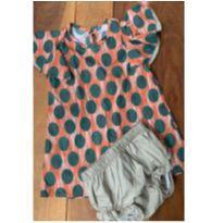 Vestido laranja e verde - 1 ano - Sem marca