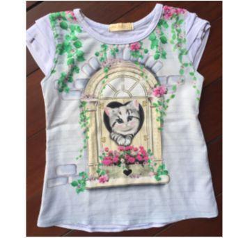 Camiseta Azul Gatinha - 3 anos - Arte Menor