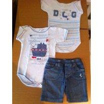 2 Bodys com bermuda jeans -  Cores Novas - 12 a 18 meses - Cores Novas