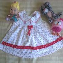 Vestido Branco de bolinhas vermelhas - 3 a 6 meses - zero e cia