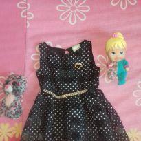 Vestido preto de bolinha tão lindinho - 1 ano - Milon