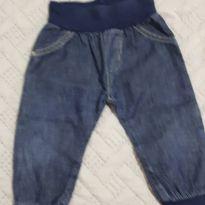 Calça jeans bebê com body - 0 a 3 meses - Sem marca