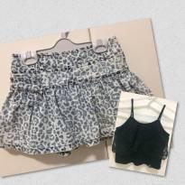 Saia Short Jeans Oncinha / Blusa com Renda - 10 anos - BICHO  COMEU