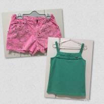 Blusa Verde Alça- Dupla / Short Estampado Rosa-Cinza Bicho Comeu - 8 anos - Lacoste