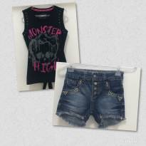 Blusa MONSTER HIGH / Short Jeans - 10 anos - Monster High