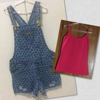 Jardineira Jeans / Blusa Básica - 12 anos - Barbie