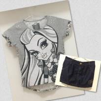 Blusa MONSTER HIGH / Saia Jeans - 8 anos - Monster High