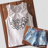 Blusa Teen Bicho Comeu We Love / Short Jeans - 10 anos - BICHO  COMEU