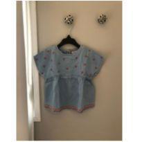 Bata Zara Baby jeans com florzinhas - 9 a 12 meses - Zara Baby e Zara
