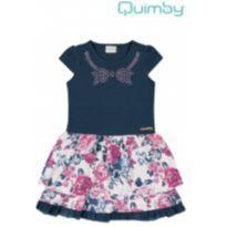 Vestido Azul + Flores - 1 ano - 1 ano - Quimby