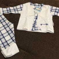 Pijama menino xadrez - 3 a 6 meses - Akonxego
