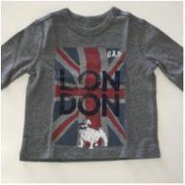 Camiseta manga comprida Gap cinza - 6 a 9 meses - GAP