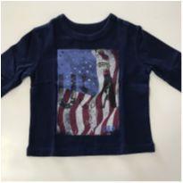 Camiseta manga comprida Gap azul marinho - 6 a 9 meses - GAP