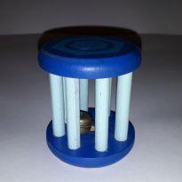 Chocalho madeira  clássico azul com guizo -  - Não informada e Nacional
