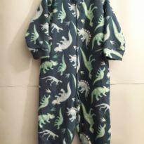 Macacão/Pijama Soft/Fleece Dinossauros bem quentinho - 12 a 18 meses - Dedeka