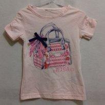 B2F2 - Blusa rosa com estampa de bolsa - 2 anos - Não informada