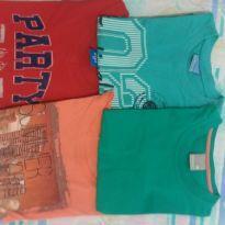 Kit 4 camisetas manga curta tam 4 - 4 anos - Carinhoso e Hering Kids