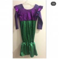 Vestido Fantasia Ariel com paetês - 4 anos - Não informada