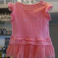 Body vestidinho com tule - 9 a 12 meses - Baby Club