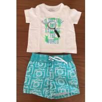 Conjunto Bermuda Estampada Baby Gap 0-6M, Camiseta Malha MC Osh Kosh 6M - 3 a 6 meses - Baby Gap e OshKosh