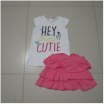 Saia babado rosa e blusa branca - 4 anos - Brandili e Outras