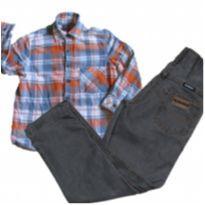 conjunto calça jeans e camisa xadrez - 6 anos - Hering Kids