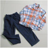 conjunto calça de sarja e camisa