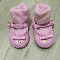 Sapatinho rosa antigo de verniz com meia embutida - 15 - Pampili