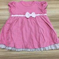 Vestido rosa com babados - 6 a 9 meses - Teddy Boom