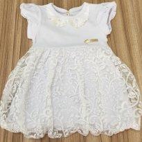 Vestido branco com babados - 6 a 9 meses - Kiki Xodó