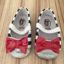 Sapato listradinho com laço vermelho - 16 - Bibi