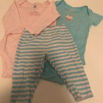 Conjunto 2 Body e 1 calça Carter's - 3 a 6 meses - Carter`s