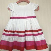 Vestido Branco com Rosa - 6 a 9 meses - Carter`s