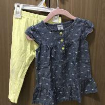 Conjunto blusa jeans e calça amarelinha