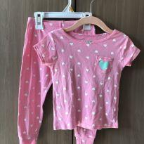 Pijama rosa com corações - 18 a 24 meses - Carter`s