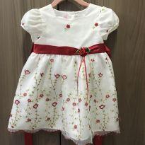 Vestido lindo com bordados flores no jardim - 18 a 24 meses - Marca não registrada