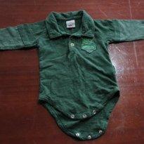 Body tipo camisa Polo de manga cumprida Verde - 3 a 6 meses - PUC