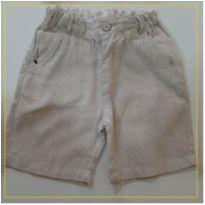 Bermuda tecido listrada bege - 1 ano - Zara Baby