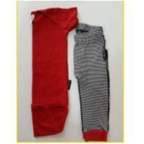Conjunto de Body e calça listrada - 9 a 12 meses - BB Básico
