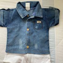 Body jeans - 6 a 9 meses - Sem marca