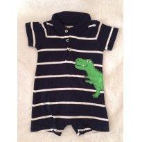 Macacão Gola Polo Carter`s Dino 6M - 6 meses - Carter`s