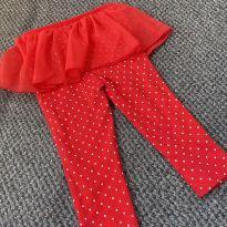 Legging vermelha com poá Carter´s - 1 ano - Carter`s