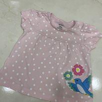 Camiseta rosa poá 12 meses - 1 ano - Carter`s