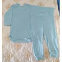 Conjunto body longo azul claro fininho - 6 a 9 meses - Girassol Baby