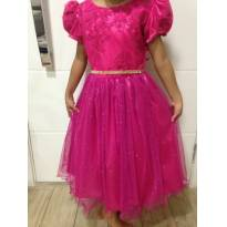 Vestido de festa super luxo cor pink maravilhoso! - 6 anos - Menina Bonita