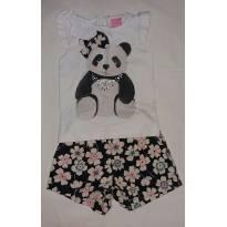Conjuntinho short florido e camiseta de panda - 1 ano - Momi