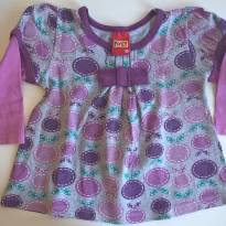 Camiseta / Blusa  Manga Longa Lilás (6 a 9 meses) - Kyly - 6 a 9 meses - Kyly