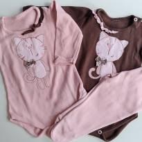 Kit Body e calça Gatinha (0 a 3 meses) - Bicho molhado - 0 a 3 meses - Bicho Molhado