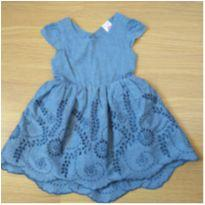 Vestido com bordado vazado ( 18/24 meses) - BabyClub C&A - 18 a 24 meses - Baby Club Original