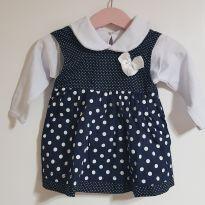 Vestido azul marinho com bolinhas - 1 ano - Sem marca